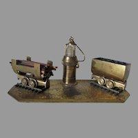 Folk Art Railroad Match Safe with Lantern, Train Cars, Coal Car