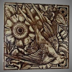 Antique English Aesthetic Movement Tile with Bird