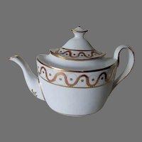 Antique c1820s Porcelain Teapot, Federal, Regency, Hand Painted
