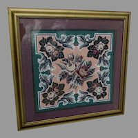 Antique French Beaded Needlepoint Tapestry with Roses