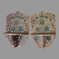 Lovely Pair of Antique Cast Iron Shelves with Leaf Motif, Original Paint