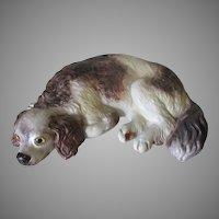 Antique European King Charles Spaniel, Dog Figurine, Glass Eyes