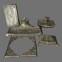 Antique Art Nouveau Desk Set, Inkwell, Blotter Ends, Stamp Box ++