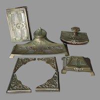 Antique Art Nouveau Desk Set, Inkwell, Blotter Ends, Stamp Box ++