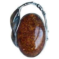 Large Vintage Polish Signed Baltic Amber Brooch