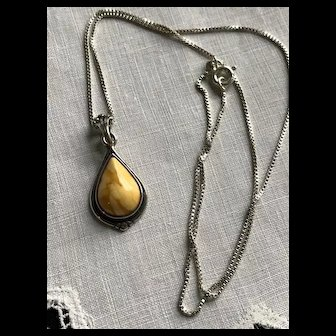 Signed Sterling Egg Yolk and Butterscotch Amber Necklace