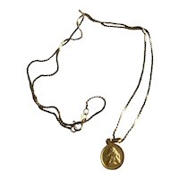 14K  Gold Vintage Raphael Angel Necklace