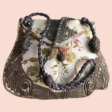 Victorian Revival  Chinese Silk Handmade Purse Metallic Trim