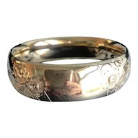 Art Deco Wide Gold Filled Bangle by A&Z