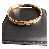 Edwardian/Early Deco Gold Filled Amethyst Bangle