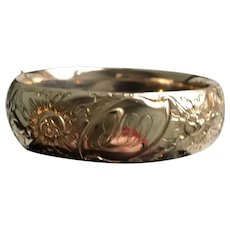 Edwardian Wide Gold Filled Bangle Marked A C Co.