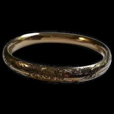 Edwardian Repousse Gold filled Bangle
