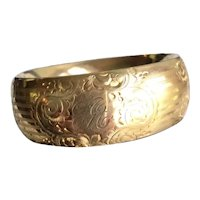 "Edwardian Gold Filled Bangle 1"" Wide 1911"