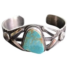 Navajo  Signed  Virgil Begay Turquoise Sterling Cuff
