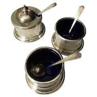 Set of Birks Sterling Open Salts and Mustard w/ Birks Spoons