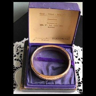 Edwardian  Gold Filled Bangle in Original Box 1912