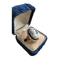 Edwardian 14K Hardstone Cameo Ring