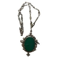 Italian Sterling and Chrysoprase Cherub Necklace