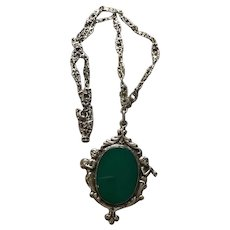Italian Sterling and Chrysoprase Cherub Necklace