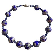 Chinese Cloisonné and Lapis Large Bead Necklace