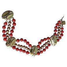 14K Coral and Diamond Triple Strand Bracelet