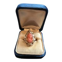 14K Victorian/Edwardian Coral Cameo Ring w/Diamond