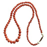 14K Art Deco Coral Bead Necklace