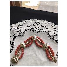 14K Gold Vintage Salmon Red Coral Bracelet