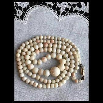 14K Art Deco Angel Skin Coral Necklace