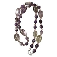 Vintage Rock Crystal and Amethyst Necklace Sterling Clasp
