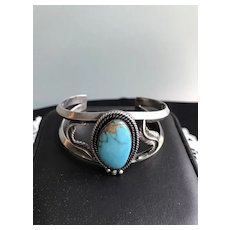 Vintage Turquoise and Sterling Native American Cuff