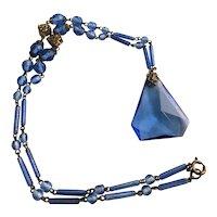 Signed Czech Art Deco Pyramid Glass Necklace