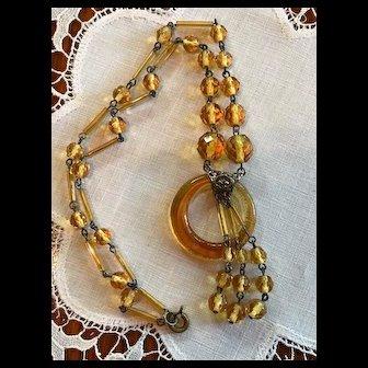 Art Deco Signed Czech Amber Glass Necklace