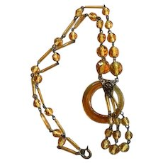 Art Deco Signed Czech Amber Glass Necklace