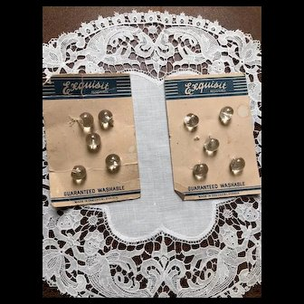 Pair of Czech Glass Crystal Button Cards