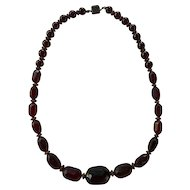 Art Deco Cherry Amber Bakelite Necklace Sterling Clasp