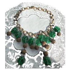 Art Deco Pate-de-Verre Green Gripoix Glass  Bead Necklace
