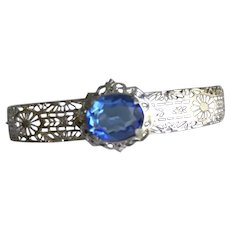 Art Deco Filigree Bangle Bracelet Blue Stone