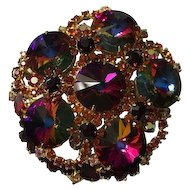 Large Juliana Siam Red Rivoli Brooch as Found