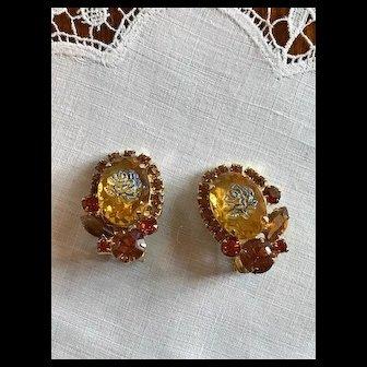 Juliana Iridescent Rose Topaz Earrings 1966