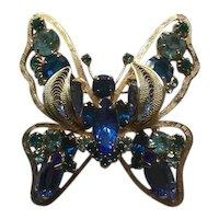 Large Juliana Blue Butterfly Brooch Book Piece