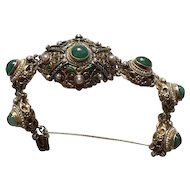 Art Deco Hungarian Baroque Emerald/Pearl Bracelet Sterling