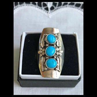 Carol Felley Sterling Sleeping Beauty Turquoise Ring 1988