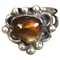 Navajo Style Sterling Fire Agate Ring