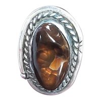 Navajo Style Sterling and Fire Agate Ring