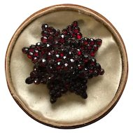 Austro-Hungarian Bohemian Rose Cut Garnet Brooch on Silver with Box