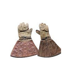Vintage Western Cavalry Gauntlet Style Leather Gloves
