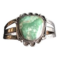 Fred Harvey Era Sterling and Turquoise Cuff Bracelet