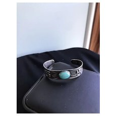 Early Fred Harvey Era Turquoise Cuff with Nohokos