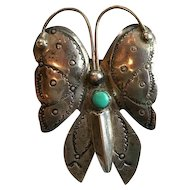 Fred Harvey Era Sterling Turquoise Butterfly Brooch